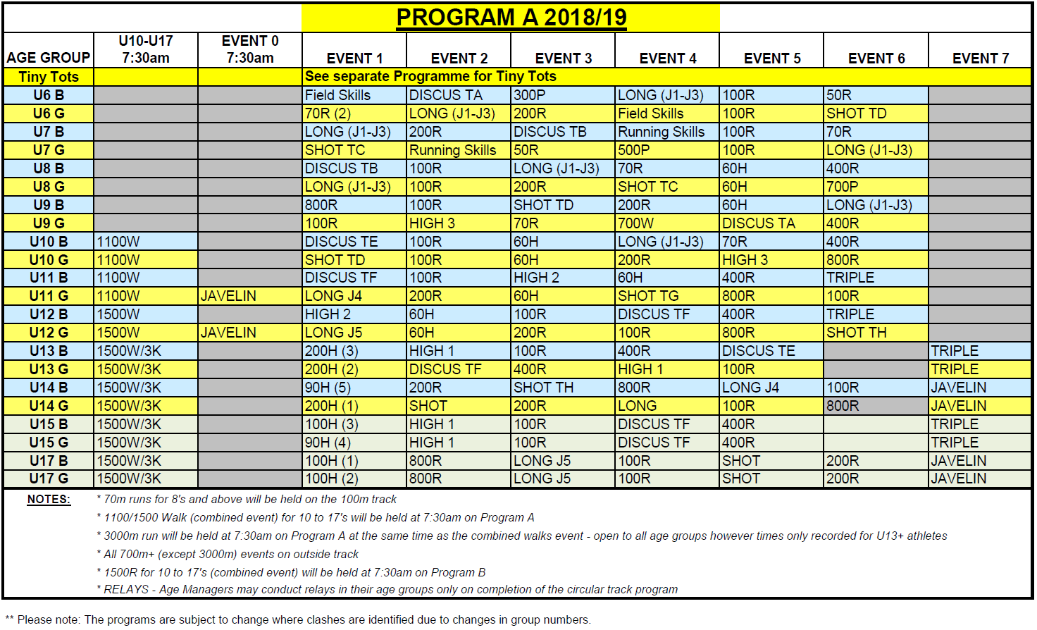WHLAC PROGRAM A 2018-19